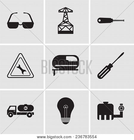 Set Of 9 Simple Editable Icons Such As Tipper, Bulb, Tipper, Screwdriver, Jigsaw, Wrench, Turn-screw