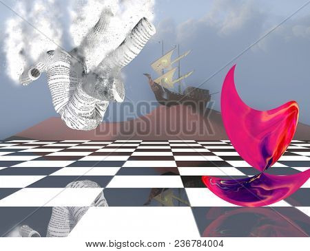 Surreal composition. Pink matter on chessboard, ancient ship on sand dune and falling paper man. 3D rendering