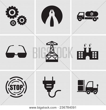 Set Of 9 Simple Editable Icons Such As Truck, Electrical Plug, Stop, Factory, Oil Derrick, Sunglasse