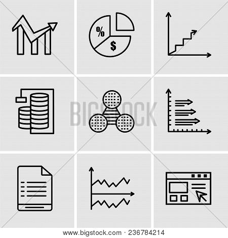 Set Of 9 Simple Editable Icons Such As Data Import Interface, Chart, User Warning, Bars, Pie Graphic