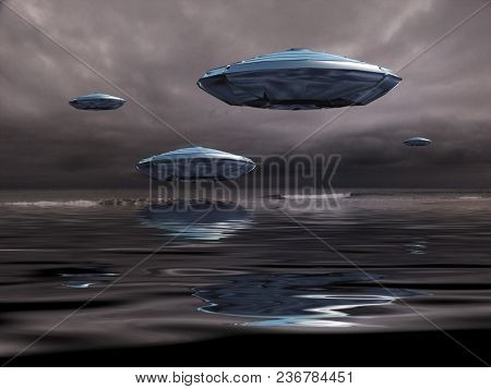 Flying saucers over the ocean. 3D rendering