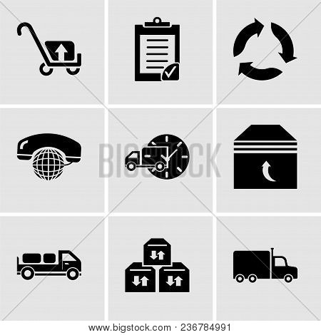 Set Of 9 Simple Editable Icons Such As Frontal Truck, Three Sto Boxes For Delivery, Delivery Truck W