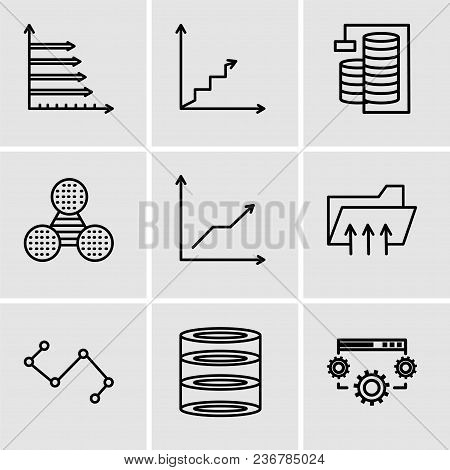Set Of 9 Simple Editable Icons Such As Data Settings, Data Analytics, Nodes Connections Interface, C