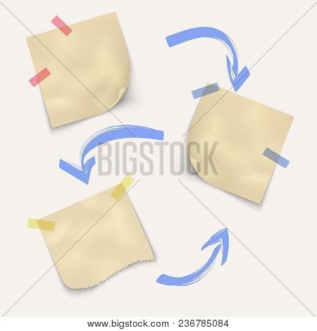 Crumpled Sheets Of Paper For Notes Square Shape With Marker Blue Arrows Isolated On White Background