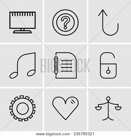 Set Of 9 Simple Editable Icons Such As Weighing Scale, Heart, Gear, Locked Padlock, Piece Of Paper A