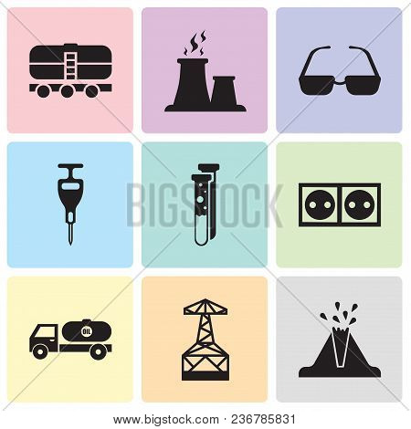 Set Of 9 Simple Editable Icons Such As Volcano, Oil Derrick, Tipper, Socket, Capsule, Puncher, Sungl