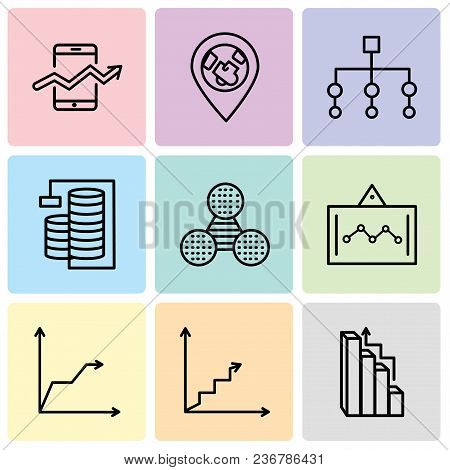 Set Of 9 Simple Editable Icons Such As Targeting, Data Analytics Ascending, Triangular Pyramid, Data