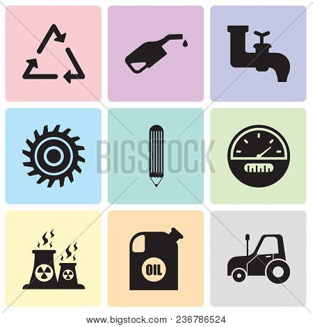 Set Of 9 Simple Editable Icons Such As Autotruck, Oil Container, Fabric, Speedometer, Pencil, Saw Bl