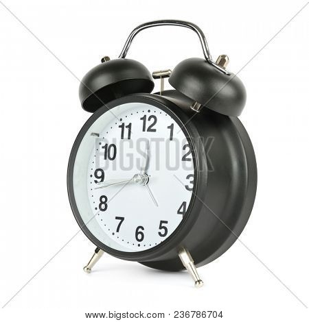 Black alarm clock in retro style isolated on white background