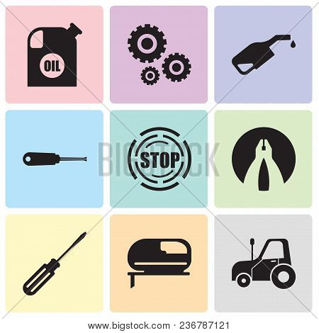 Set Of 9 Simple Editable Icons Such As Autotruck, Jigsaw, Screwdriver, Flat Plyer, Stop, Turn-screw,