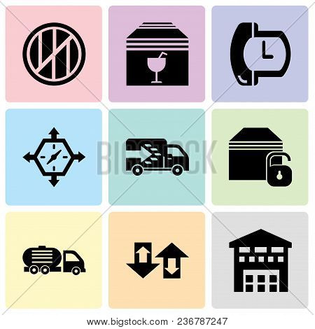 Set Of 9 Simple Editable Icons Such As Boxes Piles Sto Inside A Garage For Delivery, Up Arrows Coupl