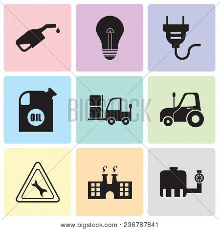 Set Of 9 Simple Editable Icons Such As Tipper, Factory, Wrench, Autotruck, Truck, Oil Container, Ele