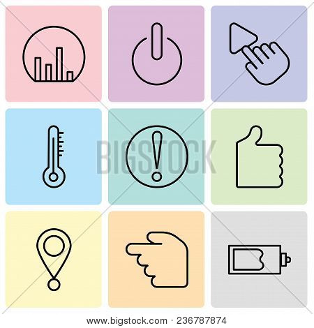 Set Of 9 Simple Editable Icons Such As Magic Wand, Hourglass, Location Pointer, Thumb Up, Caution, M