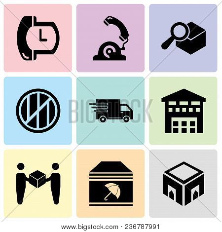 Set Of 9 Simple Editable Icons Such As Delivery Box, Delivery Package With Umbrella, Delivery Worker