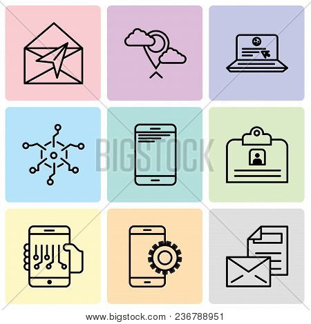 Set Of 9 Simple Editable Icons Such As Mail, Setup, Smartphone, Contact Id Card, Smartphone, Analyti