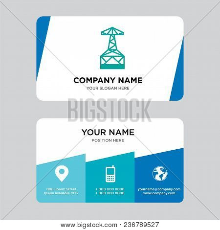 Oil Derrick Business Card Design Template, Visiting For Your Company, Modern Creative And Clean Iden