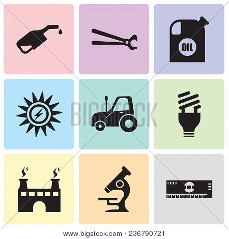 Set Of 9 Simple Editable Icons Such As Scale, Microscope, Factory, Lightbulb, Autotruck, Sun Energy,