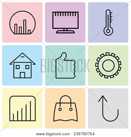 Set Of 9 Simple Editable Icons Such As Cancel Button, Reusable Shopping Bag, Coverage Level, Gear, T