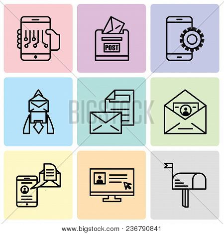 Set Of 9 Simple Editable Icons Such As Mail, Laptop And Cursor, Mail And Spartphone, Id And Mail, Ma