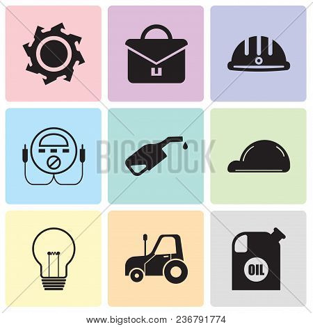 Set Of 9 Simple Editable Icons Such As Oil Container, Autotruck, Bulb, Helmet, Pump, Energy Check, H