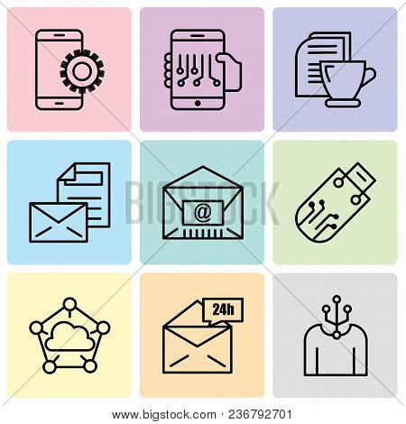 Set Of 9 Simple Editable Icons Such As Human, Mail 24 Hours, Cloud Computing, Pendrive, Mail, Mail,