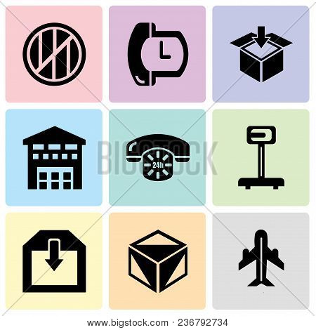 Set Of 9 Simple Editable Icons Such As Airplane In Vertical Ascending Position, Package Cube Box For