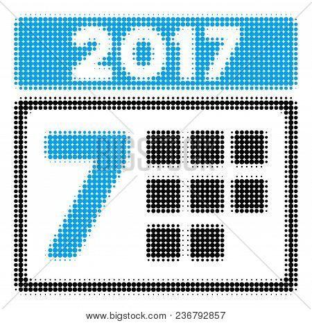 2017 Year 7th Day Halftone Vector Icon. Illustration Style Is Dotted Iconic 2017 Year 7th Day Icon S