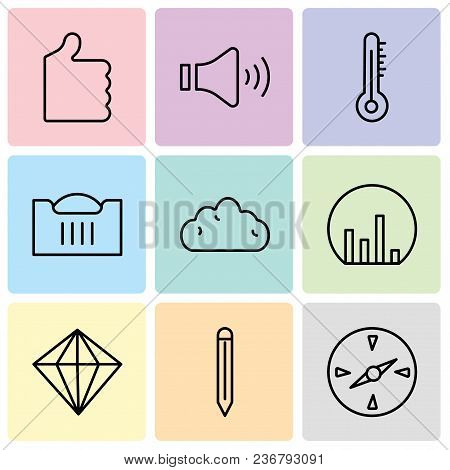 Set Of 9 Simple Editable Icons Such As Compass, Edit Tool, Diamond, Bar Chart, Cloud, Shopping Baske