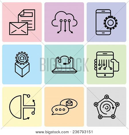 Set Of 9 Simple Editable Icons Such As Radar, Email Chat, Cube, Smartphone, Call Center, Development