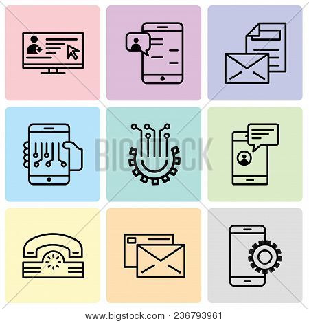Set Of 9 Simple Editable Icons Such As Setup, Mail, Telephone, Chat In Smartphone, Settings, Smartph