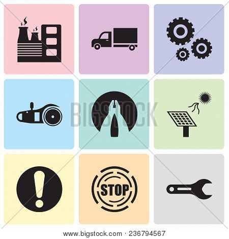 Set Of 9 Simple Editable Icons Such As Pipe Wrench, Stop, Exclamation, Solar Battery, Flat Plyer, El
