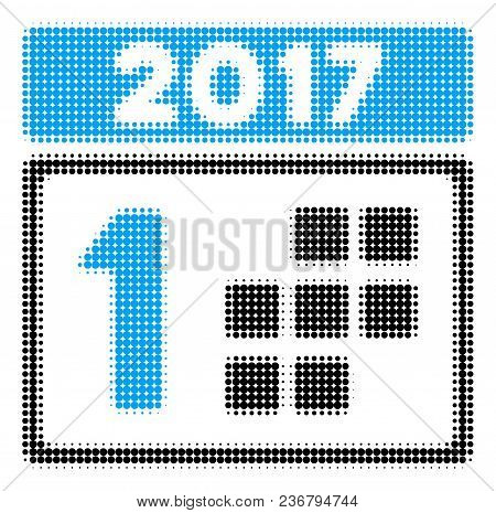 2017 Year First Day Halftone Vector Icon. Illustration Style Is Dotted Iconic 2017 Year First Day Ic