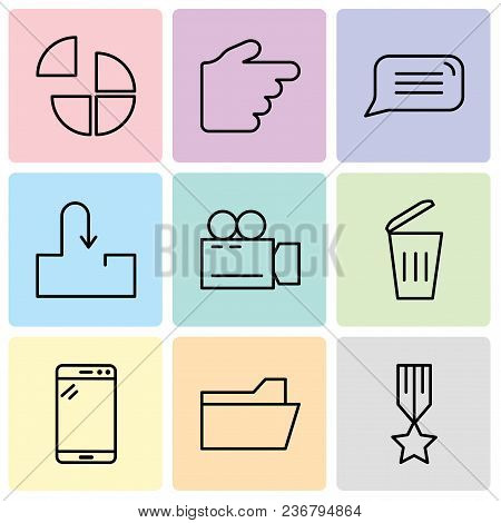Set Of 9 Simple Editable Icons Such As Medal With A Star, File Folder, Tablet, Dustbin, Video Camera