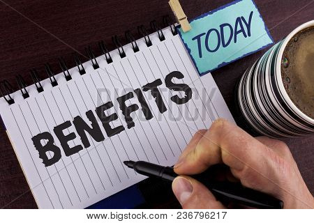 Handwriting Text Writing Benefits. Concept Meaning Hike In Allowance For Senior Employees Of The Com