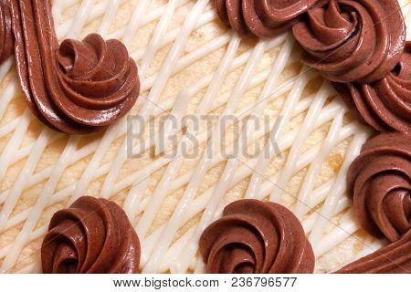 Fragment of chocolate vanilla cake