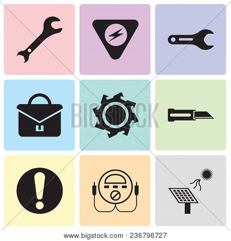 Set Of 9 Simple Editable Icons Such As Solar Battery, Energy Check, Exclamation, Knife, Saw Blade, P