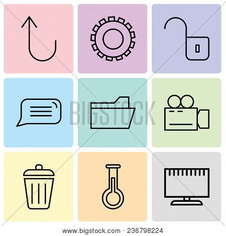 Set Of 9 Simple Editable Icons Such As Television, Erlenmeyer Flask, Dustbin, Video Camera, File Fol