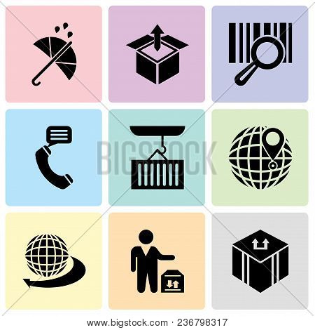 Set Of 9 Simple Editable Icons Such As Delivery Package, Man Standing With Delivery Box, Internation