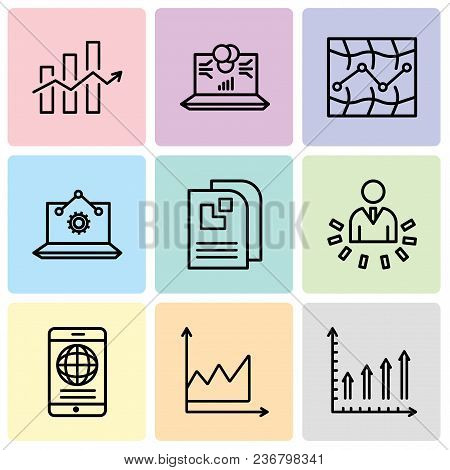 Set Of 9 Simple Editable Icons Such As Mobile Phone Text Data, Data Graphic, Mobile Phone Globally C