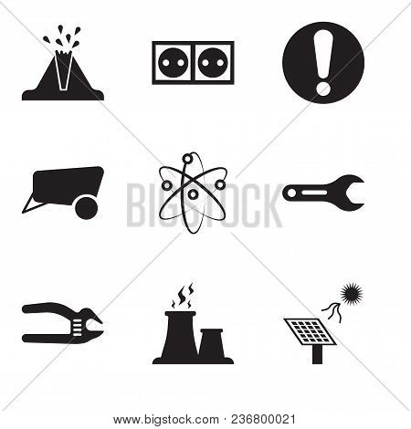 Set Of 9 Simple Editable Icons Such As Solar Battery, Fabric Steam, Adjustable Spanner, Pipe Wrench,