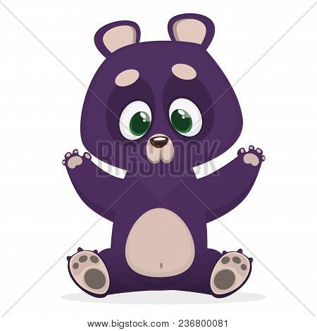 Himalayan Bear Cartoon Giving A Hug. Big Collection Of Cartoon Forest Animals. Vector Illustration F