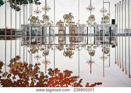 Samui Island / Thailand - July 16, 2016: The Wedding Reception Dinner Venue Setup Next To The Pool,
