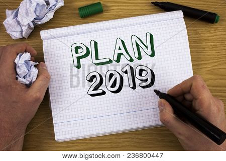 Handwriting Text Plan 2019. Concept Meaning Challenging Ideas Goals For New Year Motivation To Start