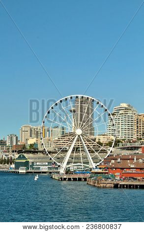 Seattle, Washington, September 14, 2017,  Waterfront Views Of The City And The Iconic Space Needle A