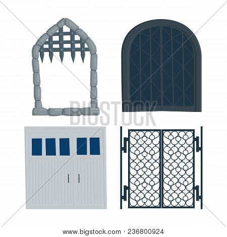 Gate Old, Castle, Garage, Iron, Wrought Iron Flat Vector Illustration In Cartoon Style Isolated On W