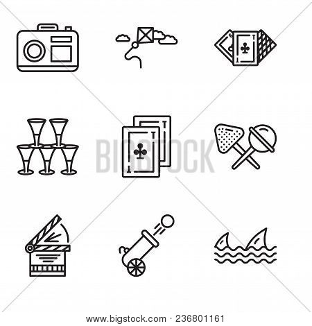 Set Of 9 Simple Editable Icons Such As Sharks, Cannon, Clapperboard, Candy, Cards, Glasses, Casino,