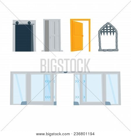 Set Of Open Doors And Entrances To Buildings, Houses, Rooms, Castle Vector Flat Cartoon Style Illust