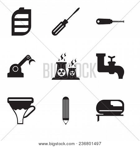 Set Of 9 Simple Editable Icons Such As Jigsaw, Pencil, Funnel, Faucet, Fabric, Jenny, Turn-screw, Sc