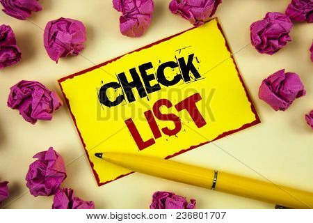 Conceptual Hand Writing Showing Check List. Business Photo Text Items Required Things To Be Done Poi