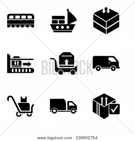 Set Of 9 Simple Editable Icons Such As Delive Box Verification, Delivery Truck, Delivery Packages On